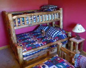 aspen log staggered bunk bed | rustic log furniture of utah
