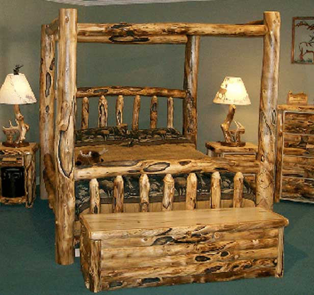 Aspen Log Canopy Bed & Aspen Log Canopy Bed | Rustic Log Furniture of Utah