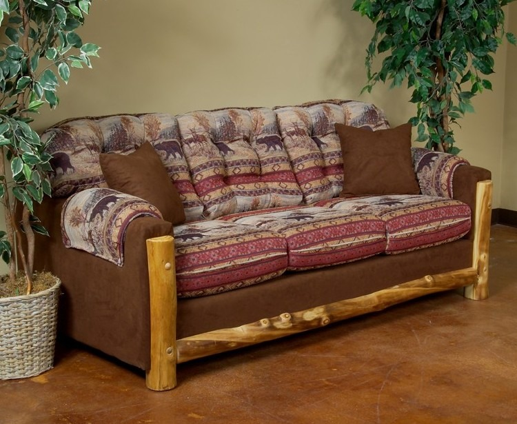 Aspen Log Trimmed Sofa