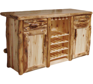 "72""W Aspen Log Front Deluxe Bar w/ 4 Wine Shelves and Wine Glass Rack"