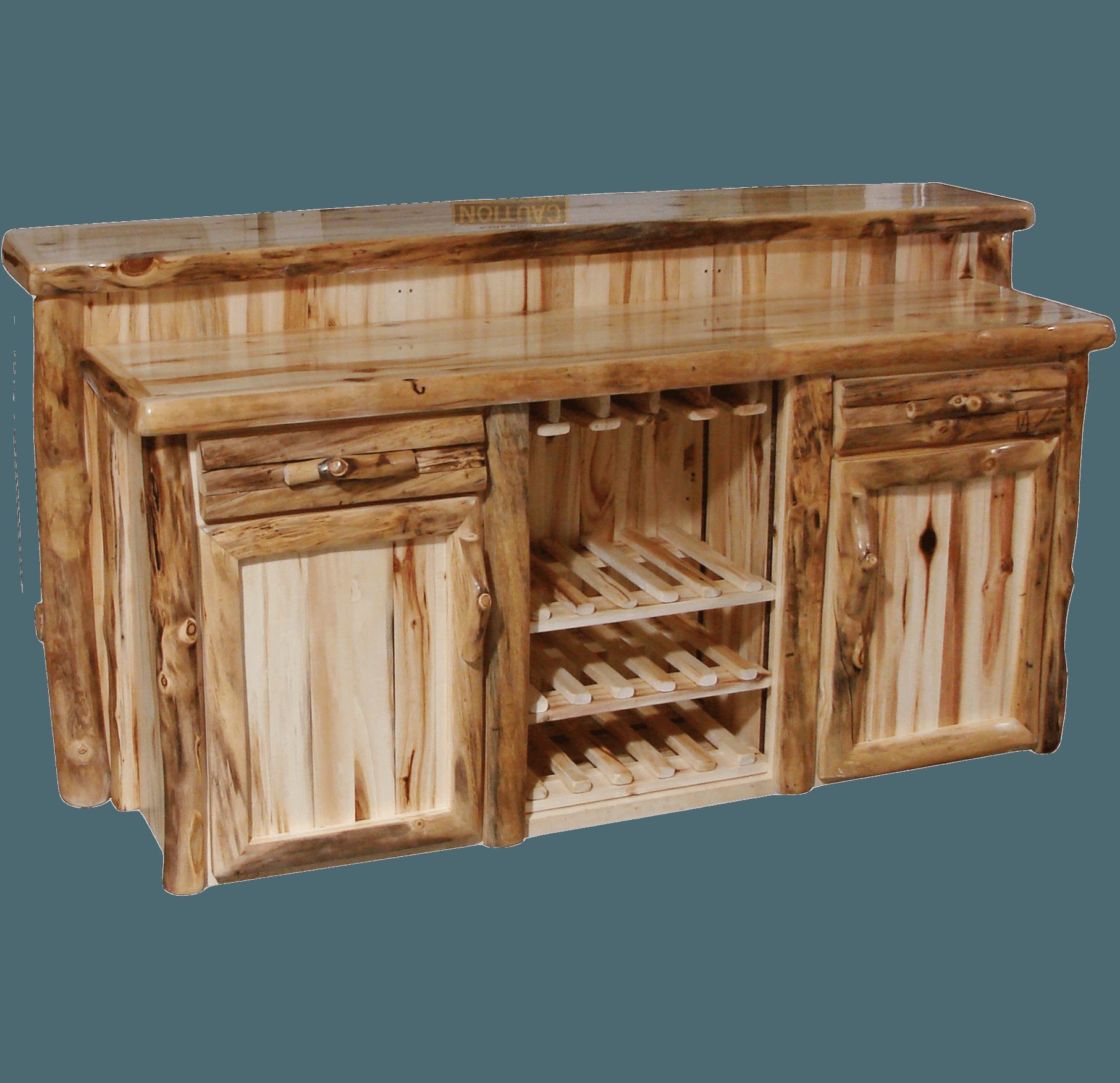 Wood bar rustic log furniture of utah for Rustic log bar