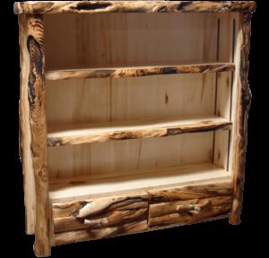 Aspen Log 60 Inch Tall Drawer Bookcase