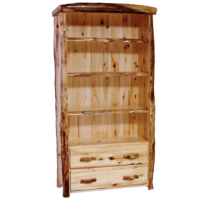 Aspen Log 75 Inch Tall Drawer Bookcase