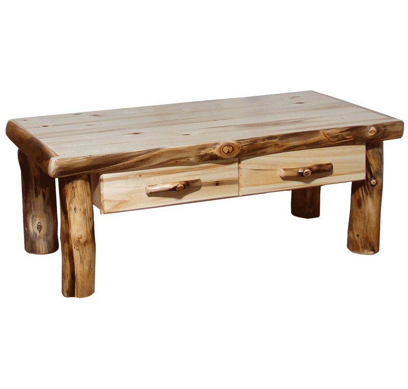 Aspen Log Square Coffee Table With Drawer Rustic Log Furniture Of Utah