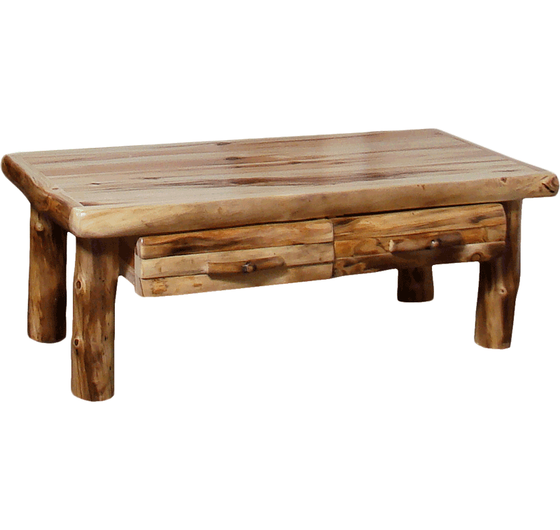 Aspen Log Standard Coffee Table With Drawer Rustic Log Furniture Of Utah