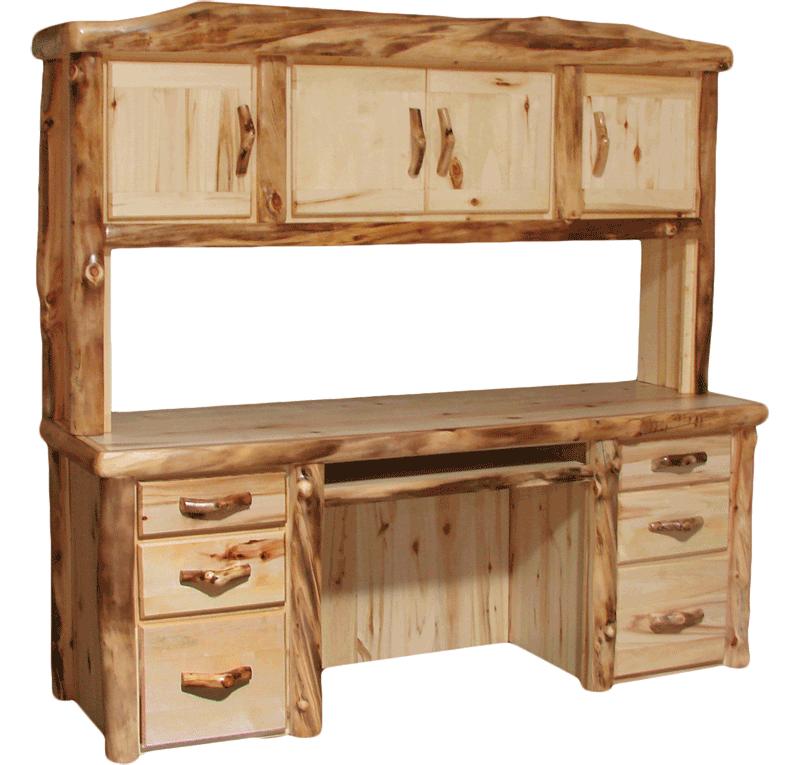 Aspen Log Desk Hutch Set