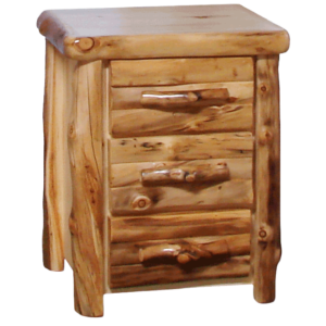 "24""W Aspen Log Front 3 Drawer Nighstand"