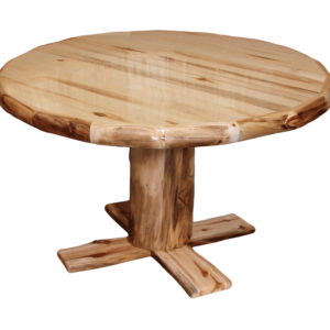 Aspen Log Rounded Dining Table w/ Liquid Glass Option