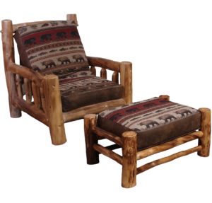 Aspen Log Chair Futon and Ottoman - Layback Option