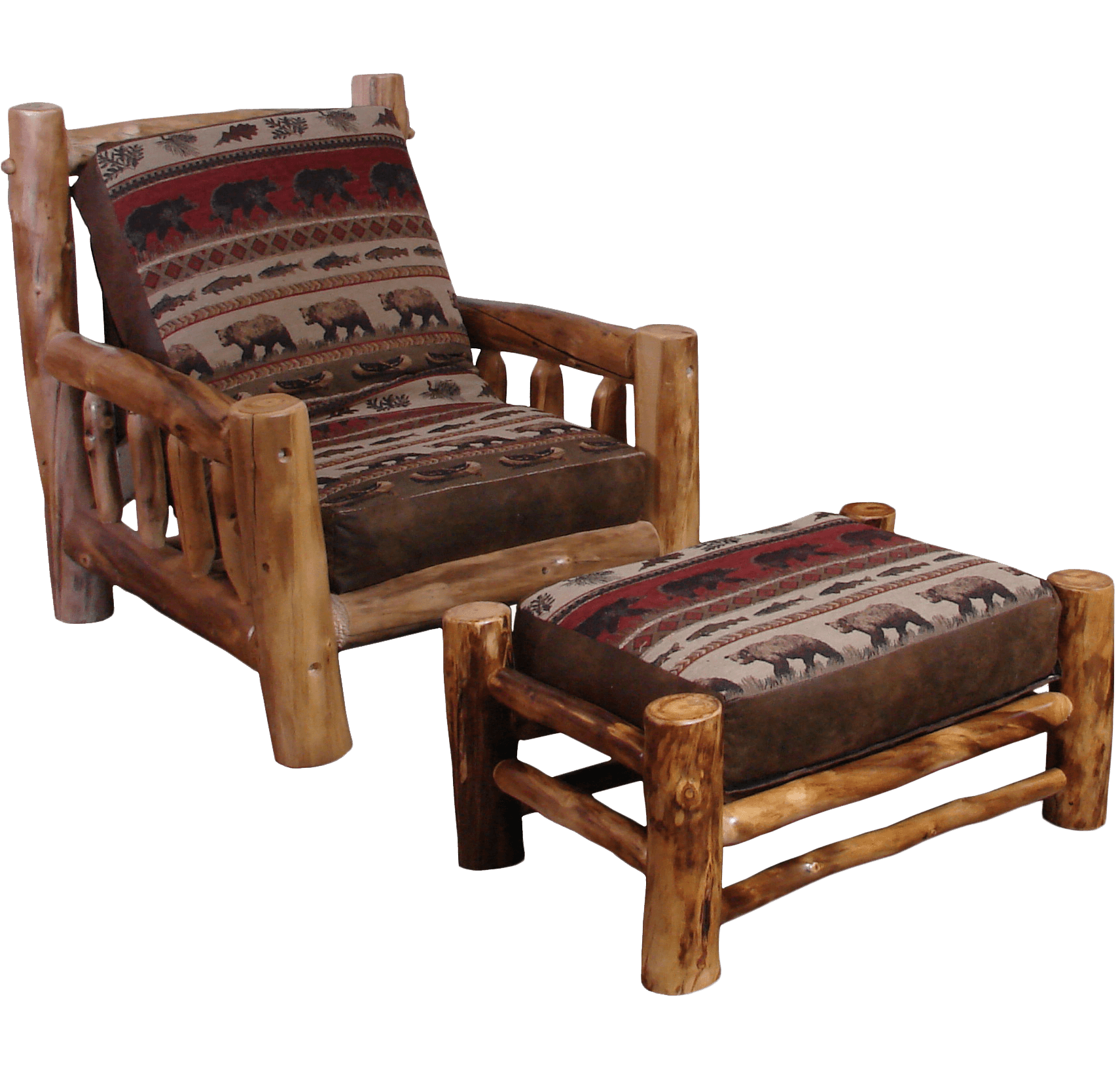 Aspen Log Frame Ottoman | Rustic Log Furniture of Utah