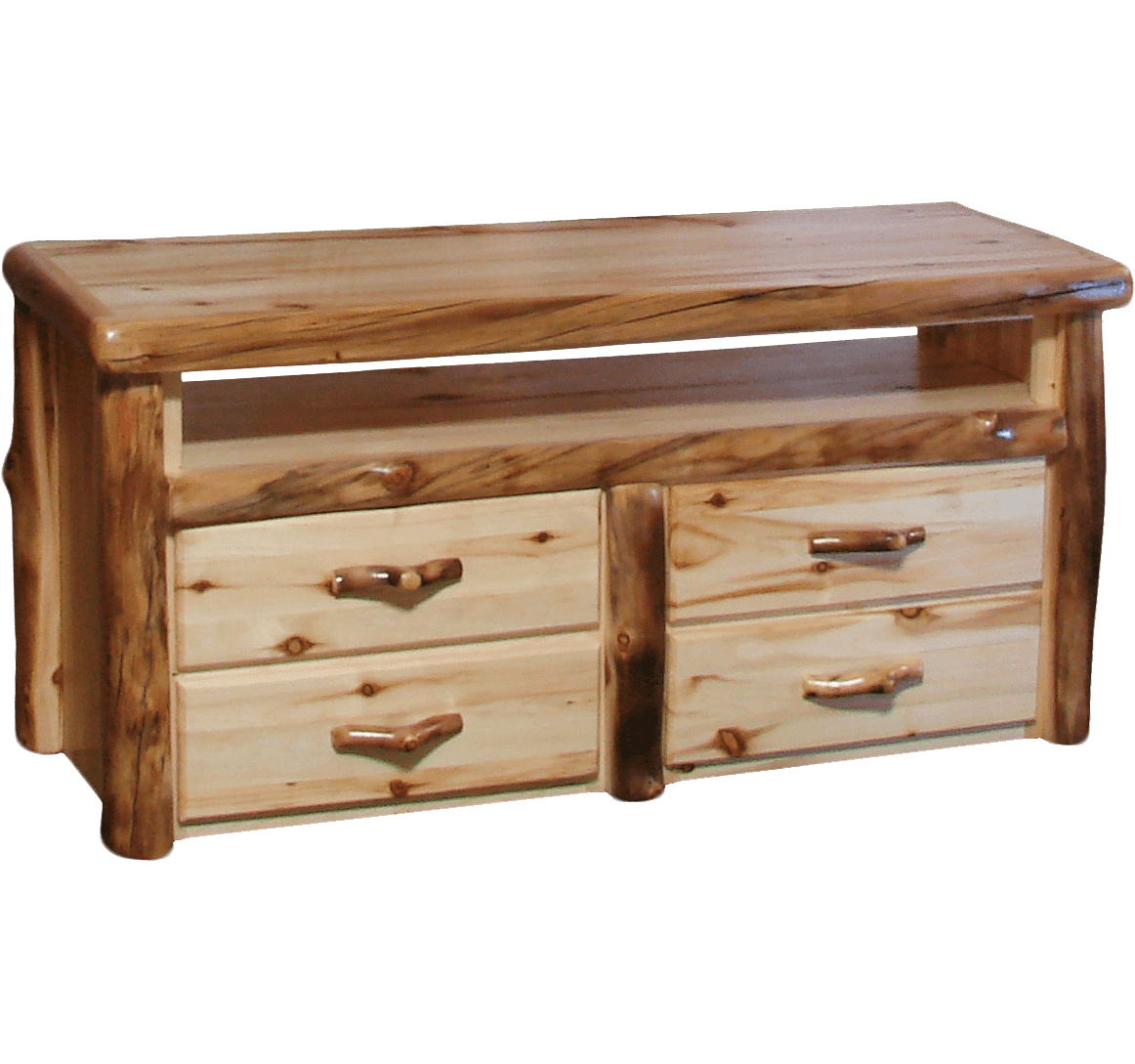 Log Furniture Tv Stand #45 - Aspen Log 4 Drawer TV Stand