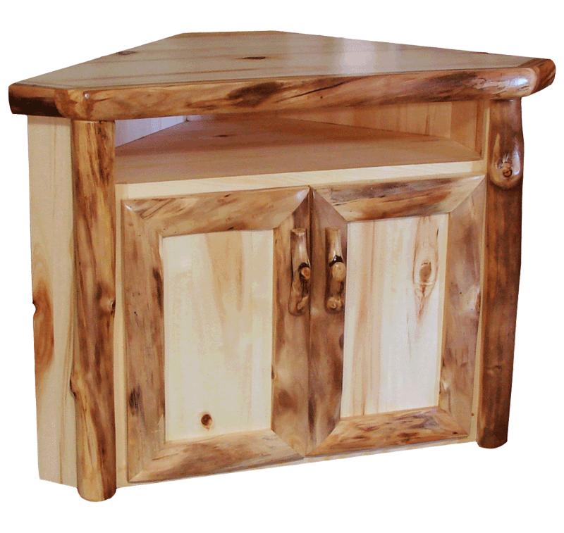 Genial Aspen Log Corner TV Stand