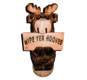 2' Carved Moose w/ Sign