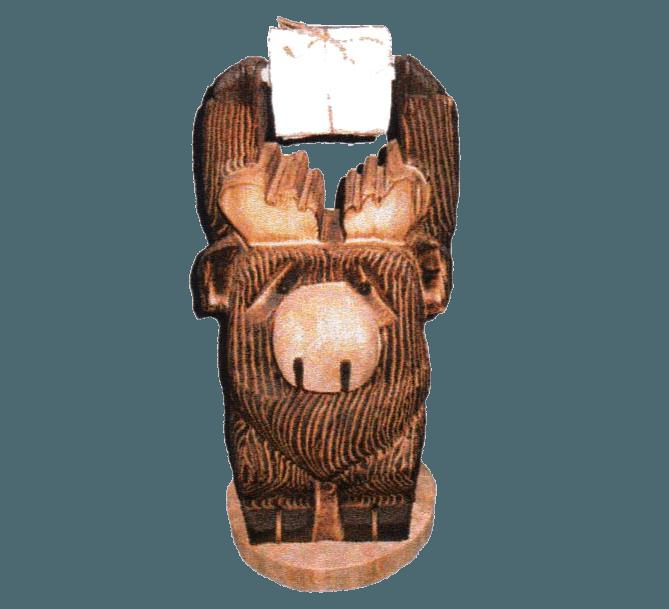 Carved moose rustic log furniture of utah