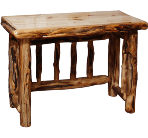 Aspen Log Spindled Table Desk w/ Gnarly Option