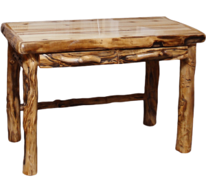 "48""W Aspen Table Desk w/ Log Front Drawers w/ Gnarly & Liquid Glass Options"