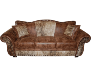 Rustic Comfort Sofa with Cowhide Fabric