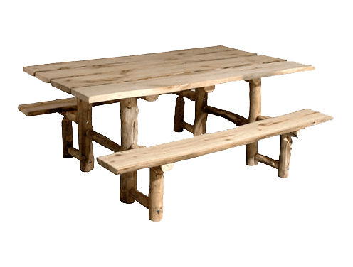 Aspen Log Picnic Table With Benches