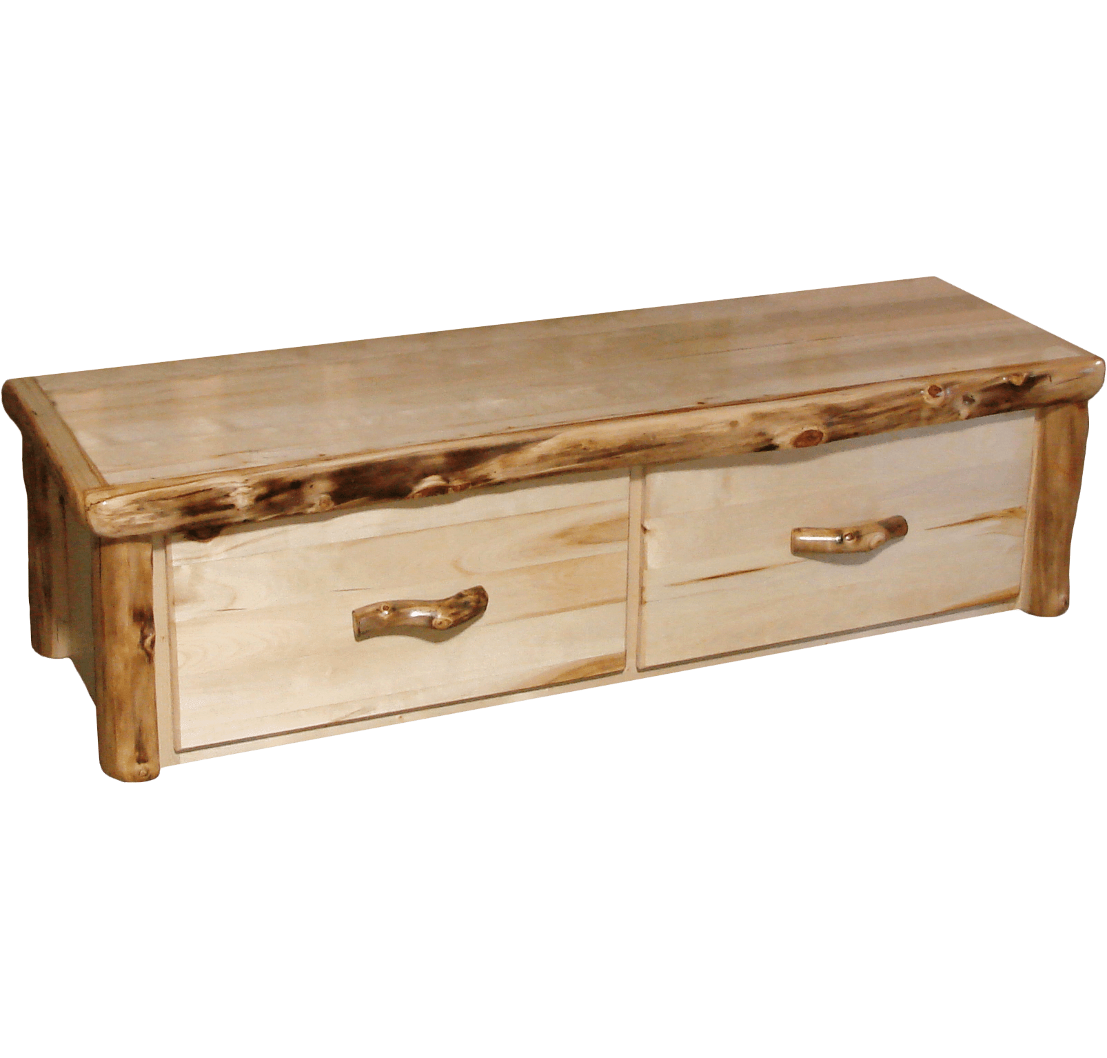 Aspen Log Bench Chest Rustic Log Furniture Of Utah