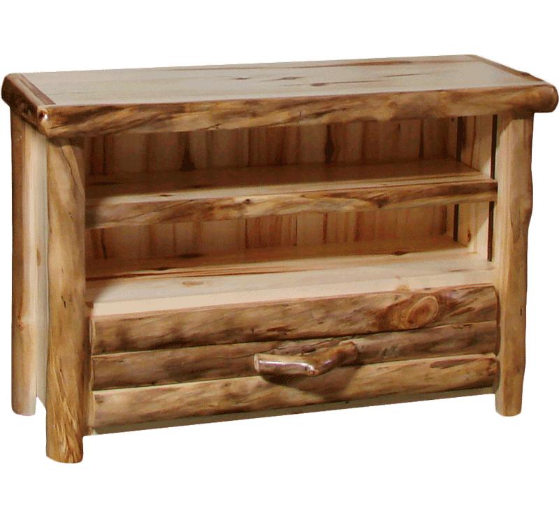 Aspen Log 1 Drawer Tv Stand Rustic Log Furniture Of Utah