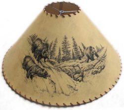 Wildlife lampshade rustic log furniture of utah fishing grizzly bears lampshade aloadofball Gallery