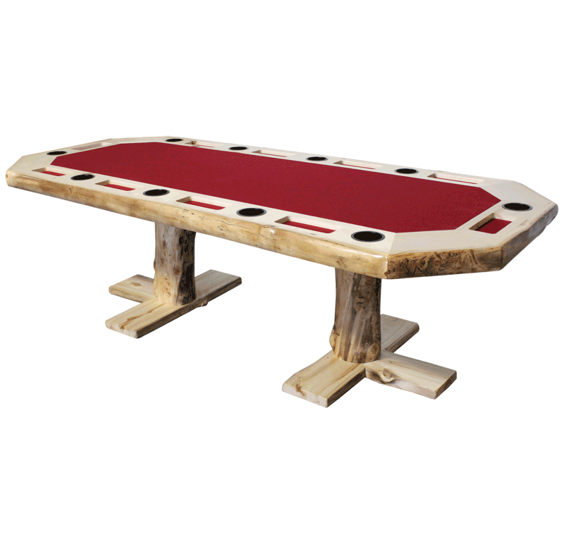 Aspen Log Rectangular Poker Table Rustic Log Furniture